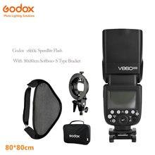 Godox V860ii photographic Speedlite Cameras Flash+S-Type Bracket Bowen Mount Holder with 80x80cm Flash Soft Box Kit