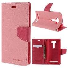 МЕРКУРИЙ GOOSPERY Кожаный Бумажник Shell для Asus Zenfone 2 Лазерная ZE500KG ZE500KL 5.0-inch-Розовый