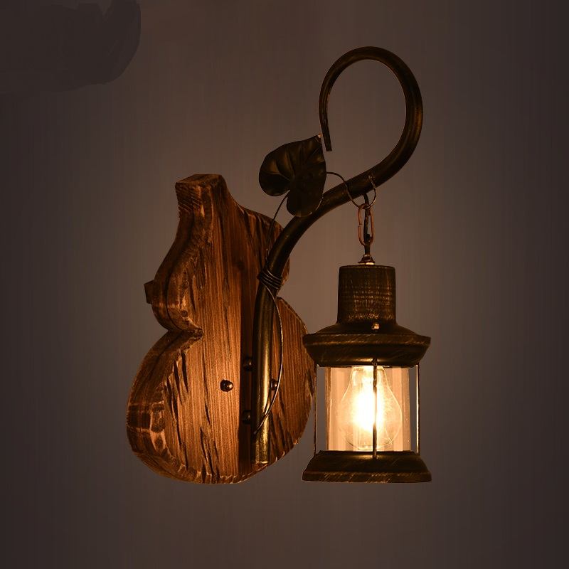 American retro Wall Lamps industrial iron lantern bar diffuse Cafe creative personality antique ship wood wall light LU71366 -YM стоимость
