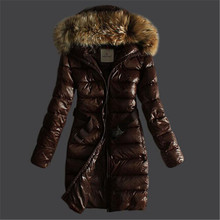 2016 Fashion Winter Jacket Women Bright Black/Brown Slim Down Coat with Belt Raccoon Fur Hood Duck Down Long Puffer Jackets