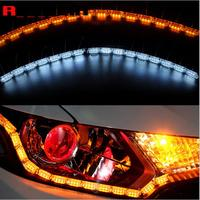 2x Car Flexible Switchback LED Knight Rider Strip Light For Headlight Sequential Flasher Dual Color DRL