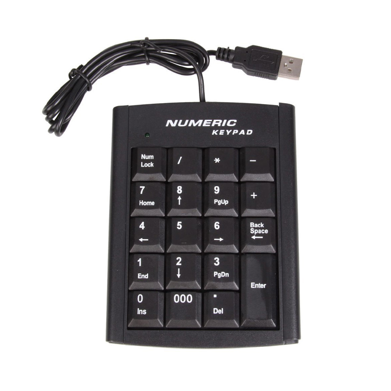 Landas Mini Wired USB Numeric Keypad For Desktop PC 19Keys With Stand Numbic Keypad For Laptop Bank Account Home Office Use