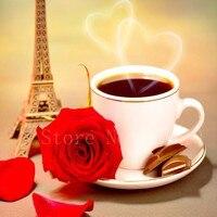 DIY Coffee Cup Pattern Diamond Embroidery Flower Eiffel Tower Diamond Painting Round Full Drill Rhinestones Painting