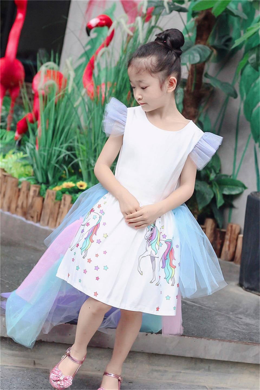 HTB1lPZ0b8Cw3KVjSZFuq6AAOpXaM Christmas Fluffy Girl Princess Unicorn Dress Gorgeous Backless Long Tail Wedding Dress Kids  Halloween Unicorn Cosplay Costume