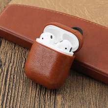 Luxury Earphone Case For Apple Airpods Strap Genuine Leather with Buttons Headphone Case Earphone Accessories for Airpods case