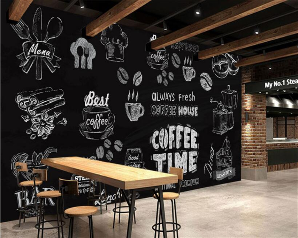 Beibehang 3d wallpaper black and white handmade coffee for Mural coffee shop