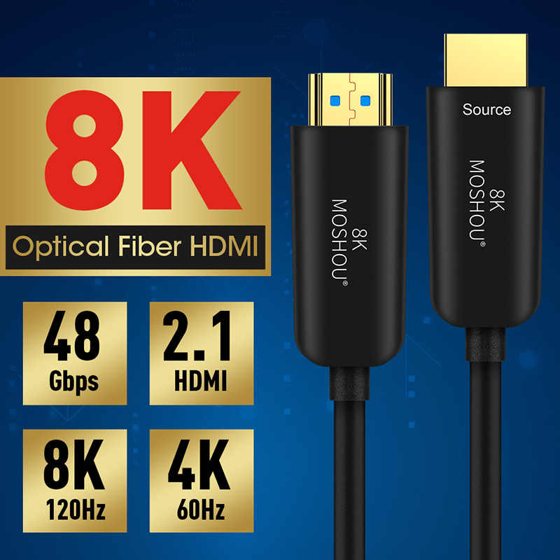 Kabel Serat Optik 4K 8K HDMI 2.0 2.0b 2.1 48Gbps Kecepatan Ultra Tinggi HDR Arc HDCP 2.2 speaker TV Video Moshou Serat Optique