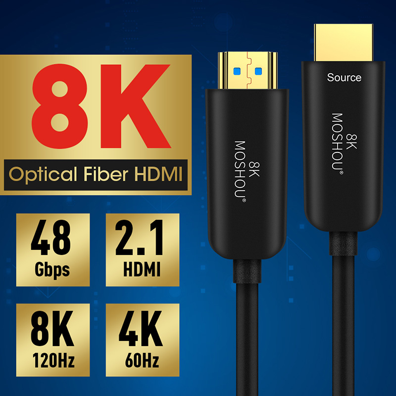 Optical Fiber Cables 4K 8K HDMI 2.0 2.1 48Gbps Ultra High Speed HDR ARC HDCP 2.2 Speaker TV Camera Video MOSHOU fibre optique