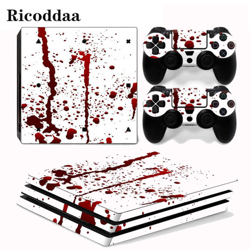 Red Ink Removable PVC Vinyl Decal Cover For PS4 Pro Console And Controllers Protective Skin Stickers For Sony Playstation 4 Pro