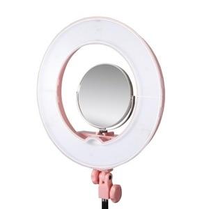 Image 2 - الوجهين قطب مصقول قابل للتعديل ماكياج selfie مرآة ل LED الدائري ضوء الفولاذ المقاوم للصدأ و الزجاج