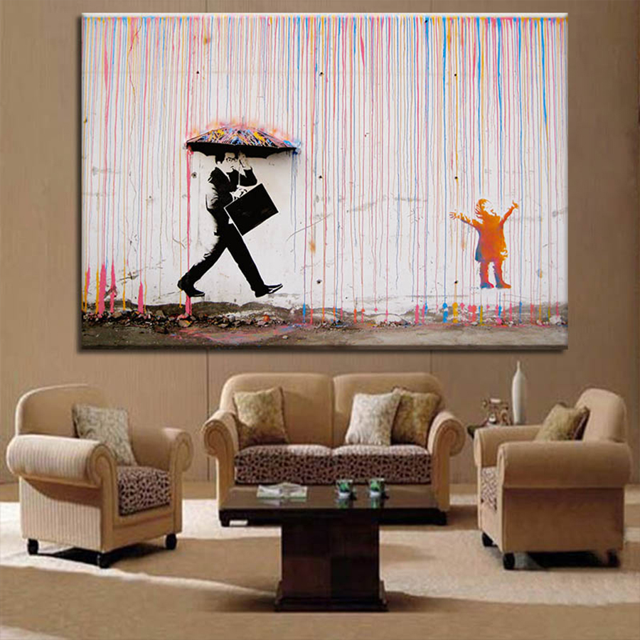 Banksy Break time paint Re Print  On Framed Canvas  Wall Art Home Decoration New