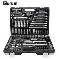 HGhomeart 150 шт профессиональный инструмент автоматического ремонта комплект Комбинации посылка торцевой ключ с наиболее полезных механически