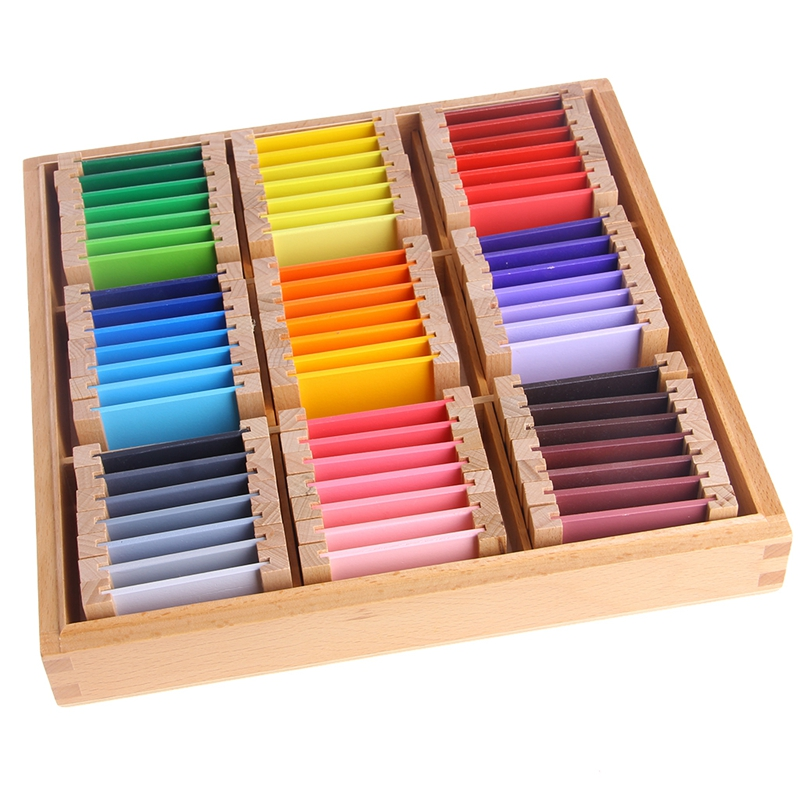 Montessori Sensorial Material Learning Color Tablet Box 1/2/3 Wood Preschool Training Kids Toy Gift(China)