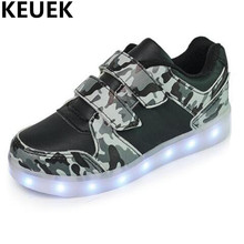 NEW Glowing Sneakers Children Breathable Flats Baby LED Light Shoes Boys Girls USB Charging Sports Shoes Kids Casual Lighted 044