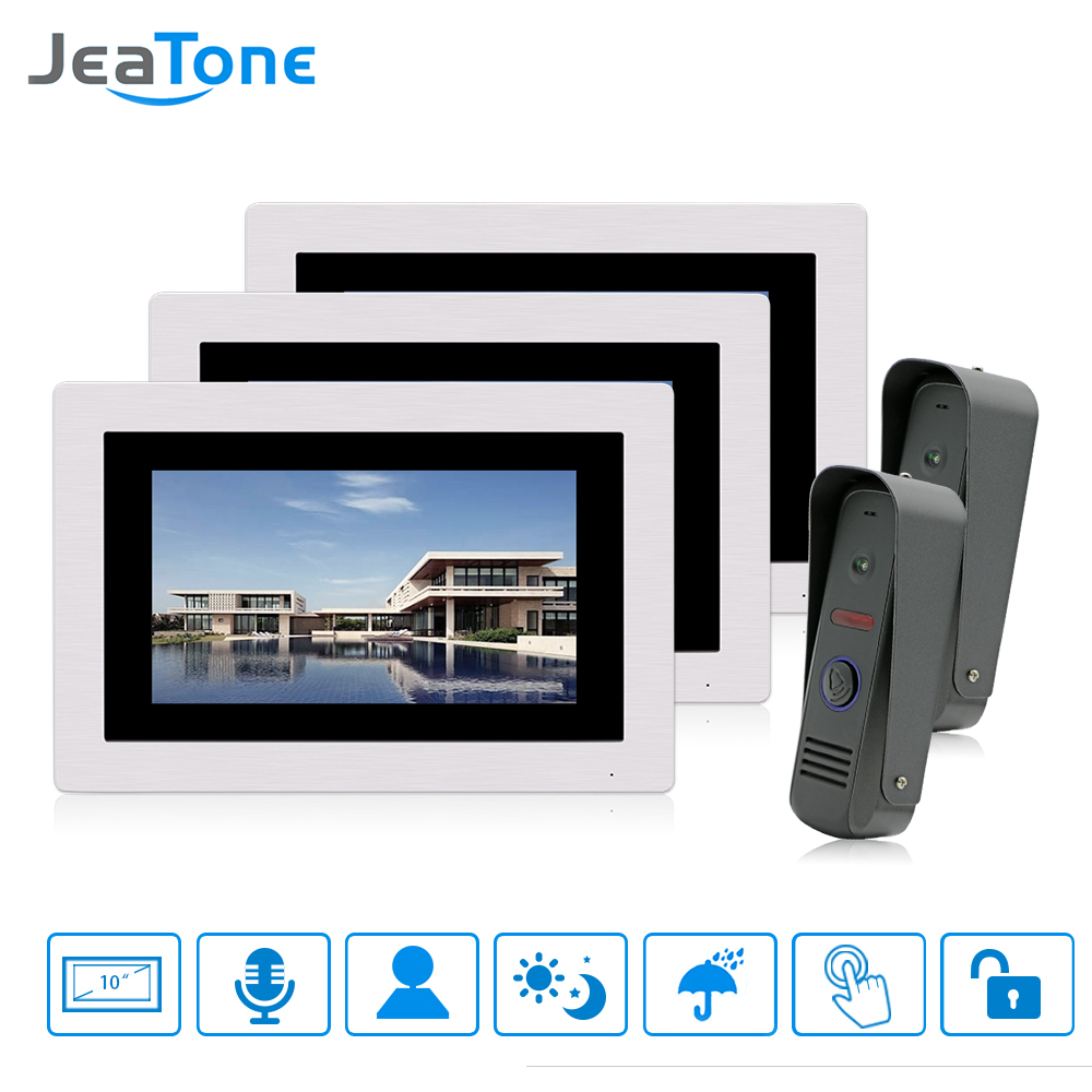JeaTone 7 1200TVL Video Doorbell Camera Door Phone Intercom System IP65 Waterproof Home Security Door Access Control Kit 4v2 biometric face and fingerprint access controller tcp ip zk multibio700 facial time attendance and door security control system