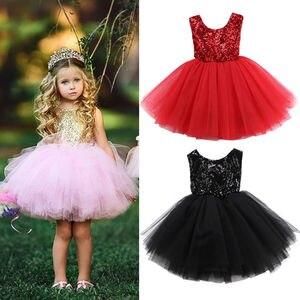Детская одежда для маленьких девочек платье без рукавов с блестками кружевное фатиновое бальное платье, торжественное платье на свадьбу на...