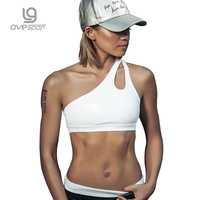 Ovesport Sport Bras Women Fitness Tops Sexy White Shirts Single Strap Yoga Tank Top Breathable Woman