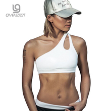 Ovesport Women Sports Bra Fitness Gym Tops Padded Sport Yoga Bras Tank Top Breathable Shockproof Woman Running Bras One Shoulder