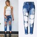 2016 джинсы женщина мода свет мыть отбеленными свободно разорвал отверстия завышенной талией джинсы сексуальные летние джинсы ночной клуб одежда