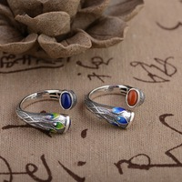 Deer King jewelry Lapis Ring S925 silver inlaid red Natural stone Wholesale Shaolan process