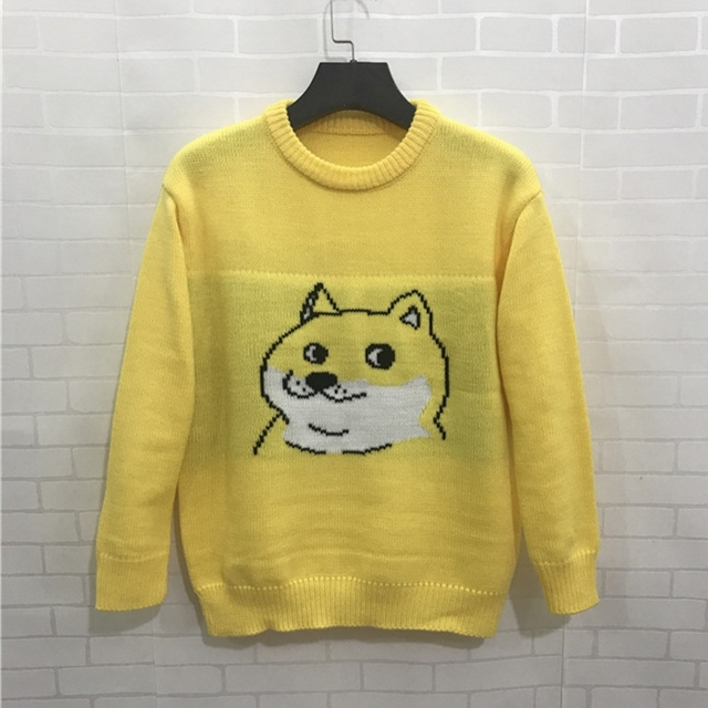 Autumn 2017 Cute Dog Dobby Women Sweater Yellow Sweater Pullovers ...