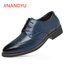 Size 38-48 Brand Brogue Carved Genuine Leather Men Whole Cut Oxford Shoes Classic Lace Up Wedding Party Man Brown Dress Shoes mycolen new fashion mens office lace up classic leather shoes men s casual party driving man vintage carved brogue flats