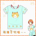 Love Live!Rin Hoshizora 100% Cotton 2 pieces Cat printed Cosplay t-shirt Anime Summer tshirt+Vest in stock free shipping