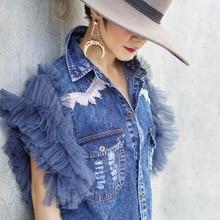 2019 Summer Fashion Streetwear Ruffles Mesh Sleeve Patchwork Denim Blouse Women Bluasa Stylish Jean Shirt Tops