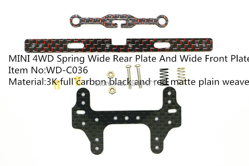 RFDTYGR RC Mini 4wd 2mm Serat Karbon Musim Semi Lebar Plat Belakang Dan Depan Plat Belakang Bagian Kustom Untuk Tamiya MINI 4WD 1 Set / lot