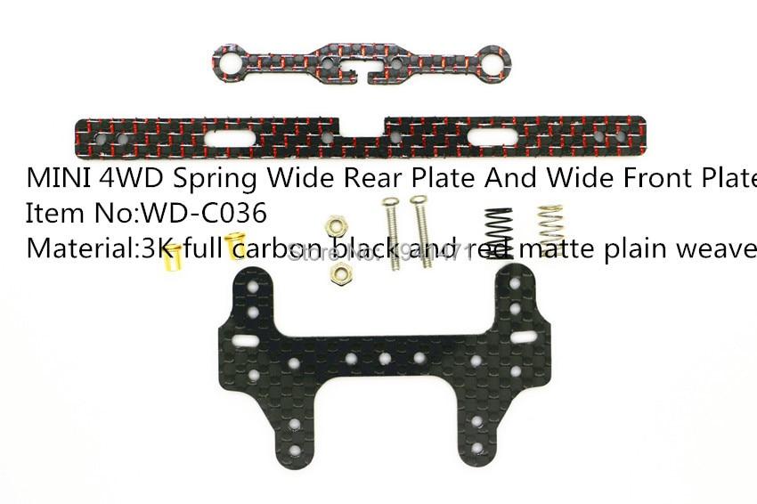 RFDTYGR RC Mini 4wd 2mm فیبر کربن بهار صفحه گسترده ای و قطعات سفارشی صفحه عقب برای Tamiya MINI 4WD 1Set / lot