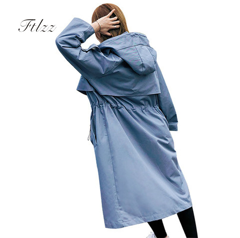 Women Vintage Windbreaker 2018 New Spring Autumn Double-breasted Hooded Long   Trench   Coats Casaco Feminino Female Plus Size Coats