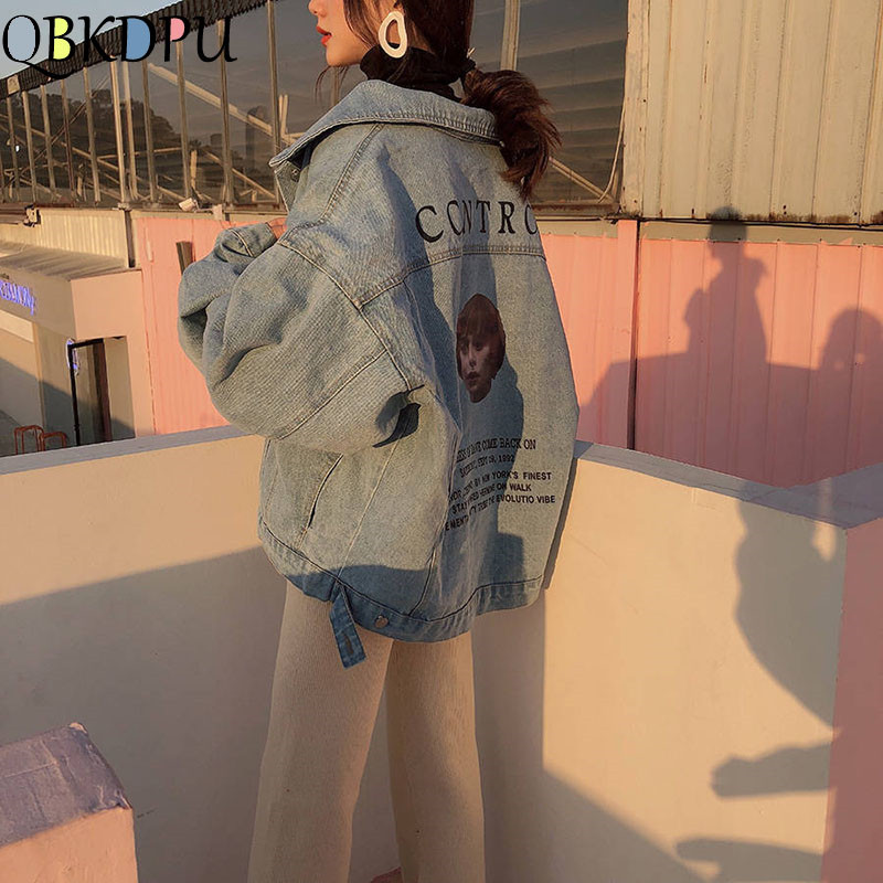 Women Harajuku Boyfriend   Basic   Denim   Jacket   Long Sleeve Loose Female Jean Coat Plus Size Vintage Outwear Streetwear 2019 Autumn