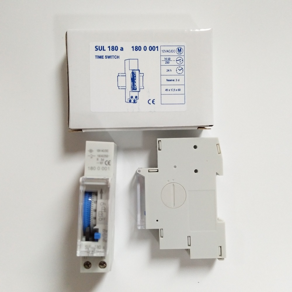 temporizador de riel DIN de 24 horas Temporizador mec/ánico de 220 V adecuado para luces de calle sistemas el/éctricos controlados por tiempo temporizador mec/ánico SUL180a de 15 minutos