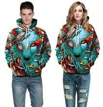 Painted wolf printing hoody new winter long-sleeved pullovers sweatshirt S-XL