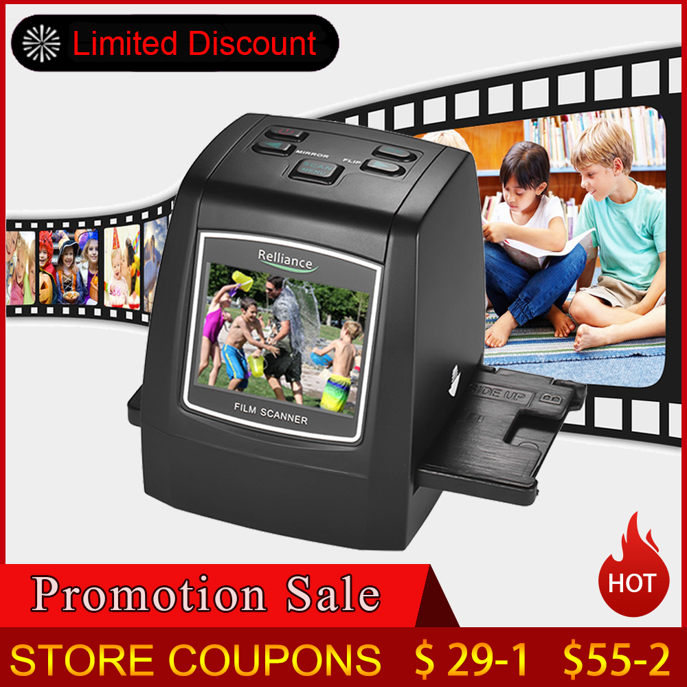 High-Resolution 14MP/22MP Film Scanner 2.4in TFT LCD Convert 35mm/135mm film Monochrome Slide Film Negative into Digital Picture(China)