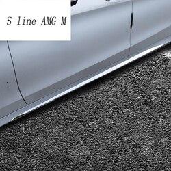 Car styling Auto Minigonne laterali in acciaio inox Auto Autoadesivo Laterale corpo del Portello Della Decorazione Assetto per Mercedes Benz Classe C W205 2015-2017