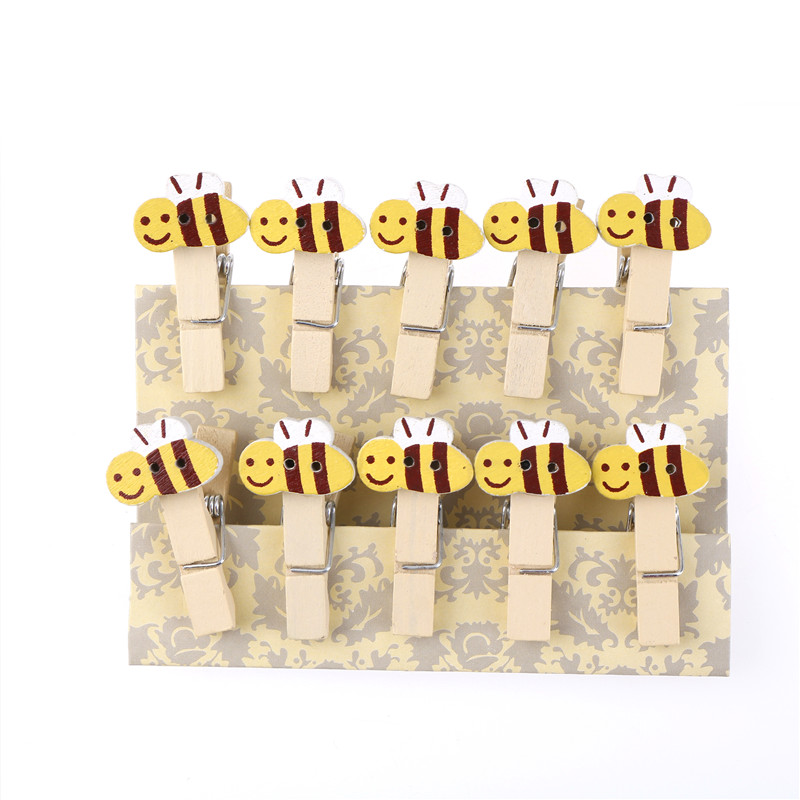 10 Pcs Cartoon Bee Wood Clip Photo Paper Clothespin Craft Clips Party Decoration