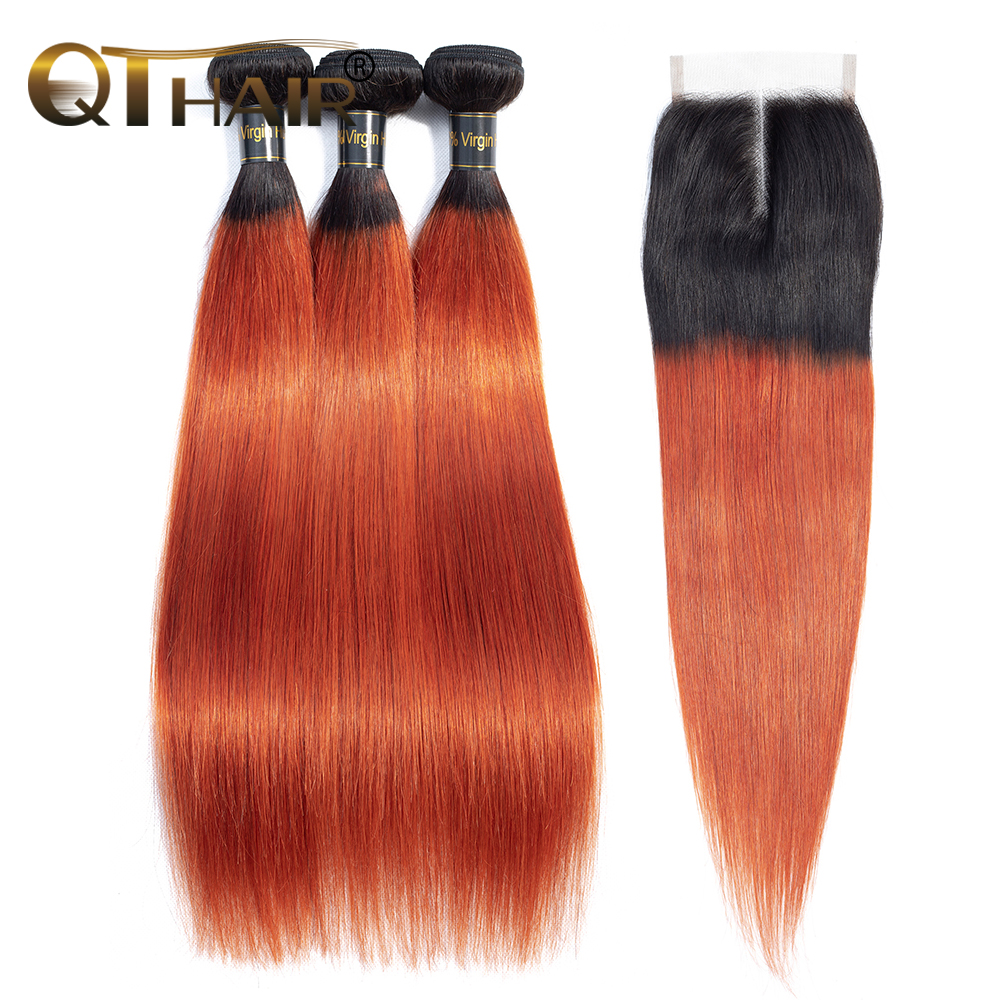 Ombre Bundles With Closure QT Colored 1B/ 350 Golden Blonde Brazilian Straight Human Hair 3 Bundles With Closure Non-remy