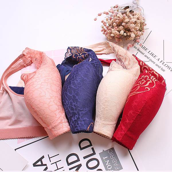 Sexy Breathable Seamless Gather Wireless Bras No Steel Vest Style Thin Section Adjustment Lace Flower Sexy Large Cup Bra Women