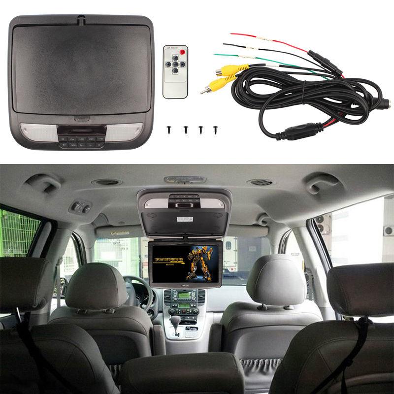 ФОТО 10 Inch Black Car Roof Mount Monitors Flip Down TFT LCD Monitor Car Styling