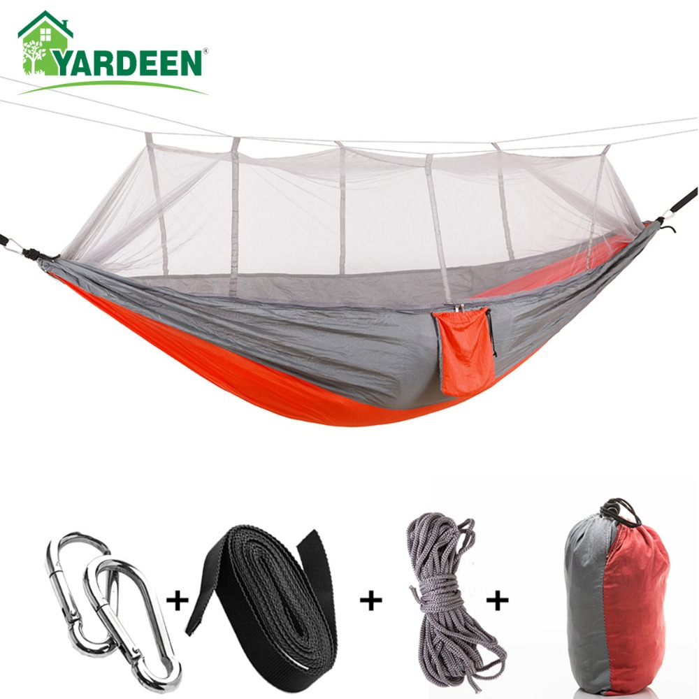 1-2 Person 260*140cm Camping Hammock Outdoor Mosquito Bug Net Portable Parachute Nylon Hammock for Sleeping Travel Hiking     1-2 Person 260*140cm Camping Hammock Outdoor Mosquito Bug Net Portable Parachute Nylon Hammock for Sleeping Travel Hiking