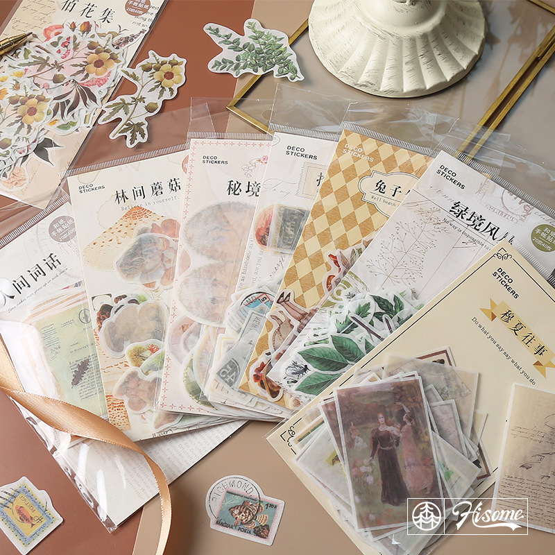 40pcs/Pack Vintage Rabbit/Stamp/Plant Sticker Scrapbooking Creative Diy Bullet Journal Decorative Adhesive Label Cute Stationery