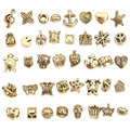 Antique Gold Big Hole Beads fit Pandora Charms Metal Zinc Alloy Mixed DIY Charms Beads for Jewelry Making 40pcs/lot BC5024