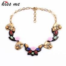 Старинные моды цветок подвеска женщины ожерелье boho ювелирные изделия заявление ожерелье kiss me