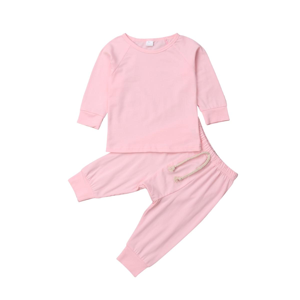 Хлопковый пижамный комплект с длинными рукавами для новорожденных мальчиков и девочек от 0 до 24 месяцев, одежда для сна, одежда для сна, топы и штаны, комплекты одежды для малышей из 2 предметов - Цвет: Розовый