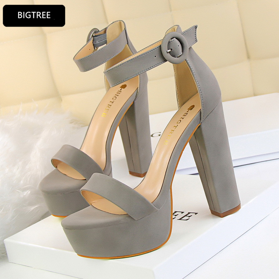 Fashion Sexy High Heels Shoes Ladies Summer New 2018 Ankle Buckle Platform Sandals Women Thick Heels Ankle Buckle Shoe 2017 summer new sandals exposed toe high heels female sexy thick with buckle shoes wholesale