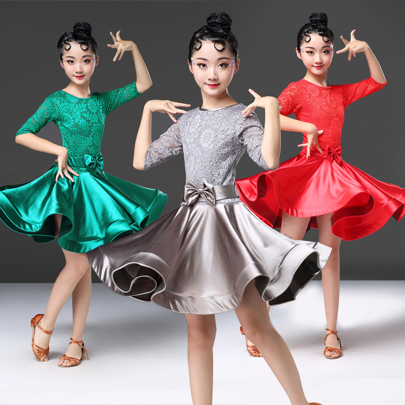 Latin Dance Dress For Girls Lace Competition Dancing Dresses Kids Rumba Salsa Samba Cha Cha Practice Performing Dancewear DN2681