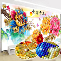 Full Special Shaped Diamond Painting Peony Flowers DIY Round Diamond Embroidery Cross Stitch Kits Needlework Mosaic