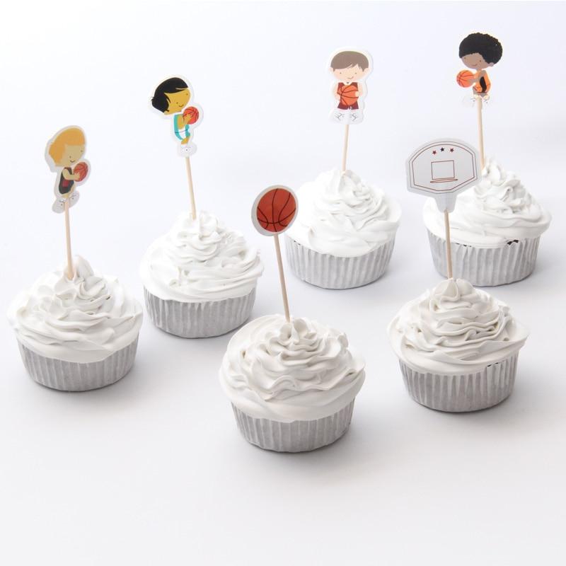 KK party Store 48pcs/lot Basketball Boy Theme Cartoon Party Supplies Cupcake Topper Kids Boy Birthday Party Decorations