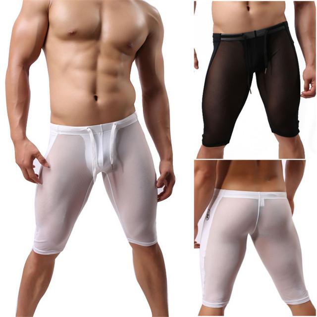 Mens Sexy Skinny Shorts Homme Homens Malha Transparente Elástico Cueca Short Presas Pouch Shorts Apertados Dos Homens Marca Branca